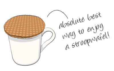 Absolute best way to enjoy a stroopwafel - on top of a warm mug filled with a favorite drink