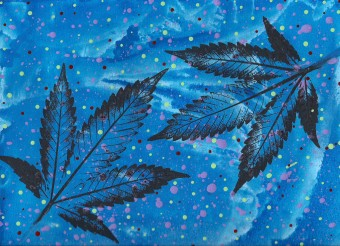 JurrasicBlueberries abstract cannabis art titled Quadrillions 2015