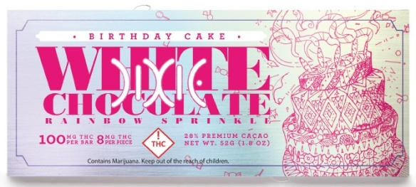 Dixie Birthday Cake bar with THC, white chocolate and rainbow sprinkles