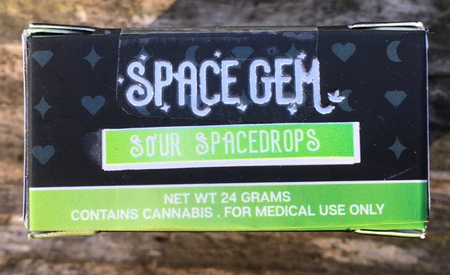 Green and black box of Space Gem Sour Spacedrops.