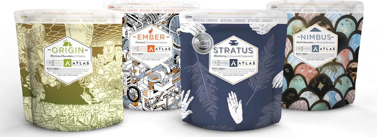 four bags of Atlas brand cannabis edibles