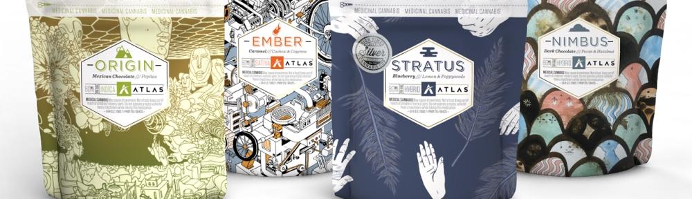 four bags of Atlas brand cannabis edibles