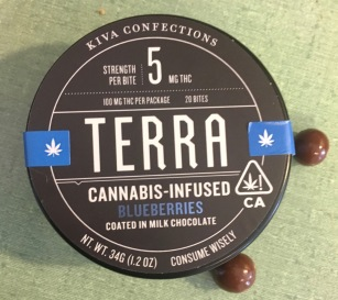 Closed canister of Kiva Terra Cannabis Infused blueberries. 20 5mg pieces.