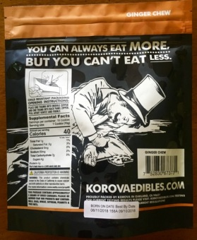 Korova Ginger Chew Mini Cookies package back