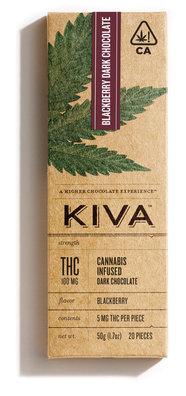 KIVA Dark Chocolate Blackberry Cannabis Infused Bar