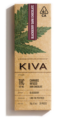 KIVA Dark Chocolate Blackberry Cannabis Infused Bar