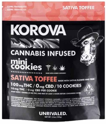 Korova Sativa Toffee cannabis infused mini cookies 100 milligram bag of ten cookies each with 10mg of THC
