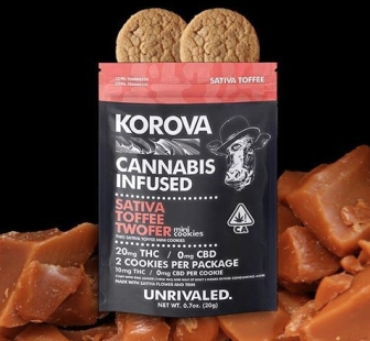Korova Sativa Toffee Twofer cannabis infused mini cookies bag with caramel