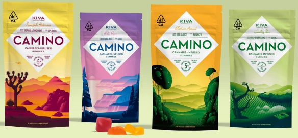 Kiva brand Camino cannabis infused Gummies - four packages one of each flavor