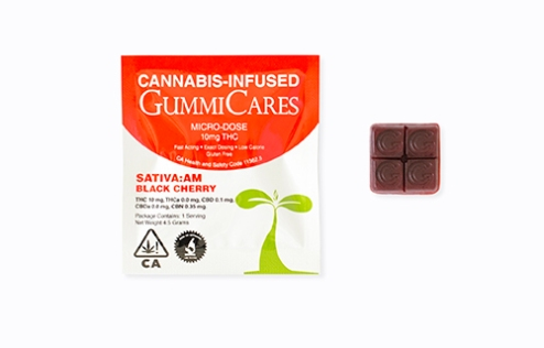 GummiCares cannabis infused gummies black cherry flavor sativa:am formula 10mg dose package