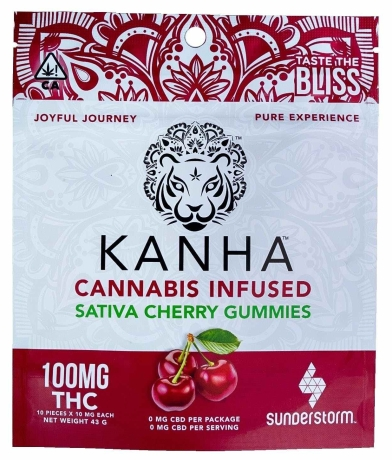 Kanha Cannabis Infused Sativa Cherry Gummies, package of 100mg THC