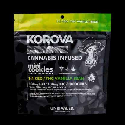 Korova Cannabis Infused mini cookies 1:1 CBD/THC Vanilla Bean flavor bag