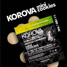 Korova Cannabis Infused mini cookies 1:1 CBD/THC Vanilla Bean flavor bag and cookies