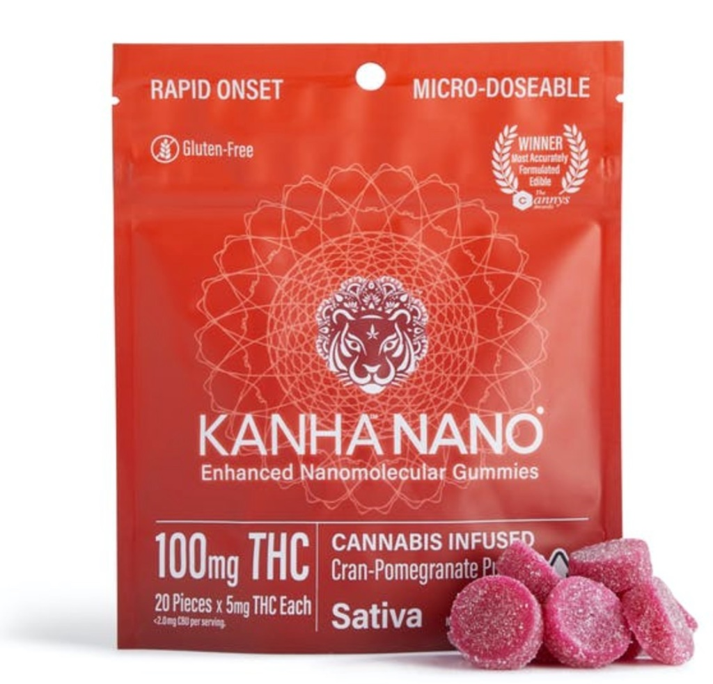 Kanha Nano Cannabis Infused Sativa Cran-Pomegrante Punch Gummies, package of 100mg THC