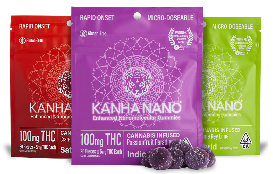 Kanha Nano Cannabis Infused  Gummies in Sativa, Indica and Hybrid formulas