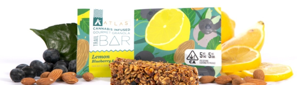 Atlas Cannabis infused gourmet granola trail bar lemon, blueberry and almond with 5mg THC and 5mg CBD