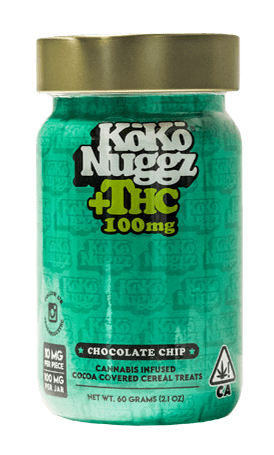 kokonuggz thc cannabis infused chocolate chip cocoa covered cereal treats