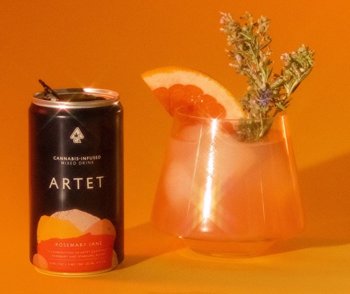 Artet Cannabis Infused Mixed Drink Rosemary Jane flavor eight ounces next to cocktail glass with rosemary stem and grapefruit slice